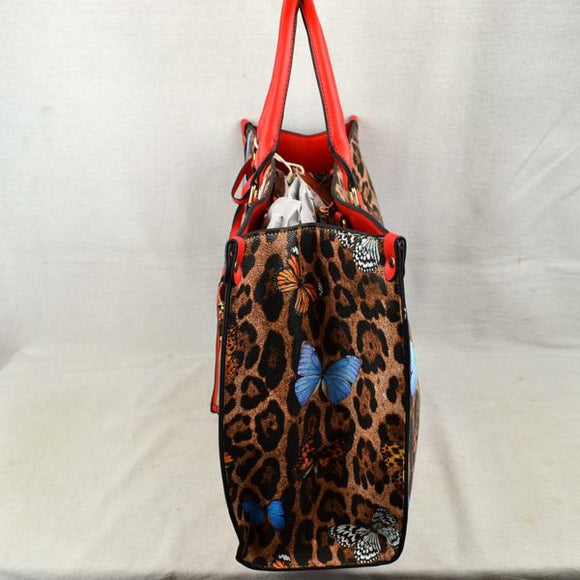 Leopard butterfly print tote with wallet - red