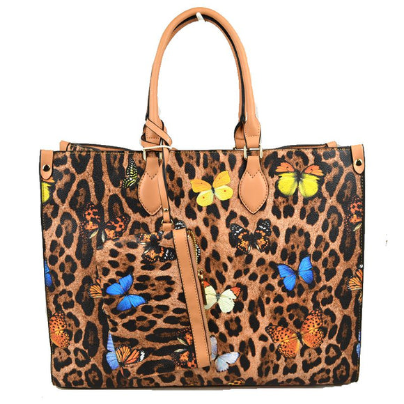Leopard butterfly print tote with wallet - tan