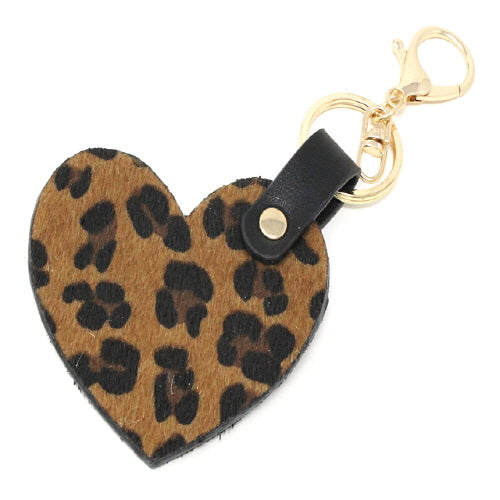 HEART KEY CHAIN - BROWN