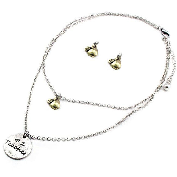 #1 Teacher & apple necklace set