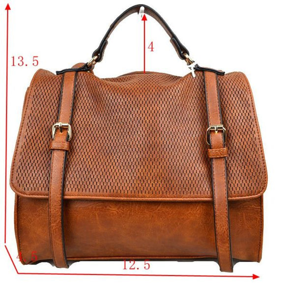 Double belted wide backpack - cognac