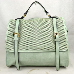 Double belted wide backpack - mint