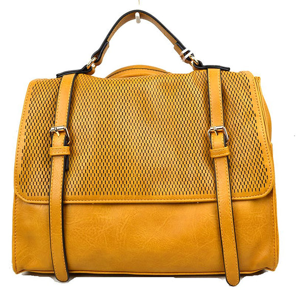 Double belted wide backpack - tan
