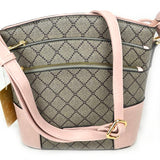 Monogram triple zipper crossbody bag - blush