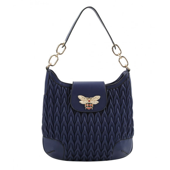 Weaving pattern hobo bag - blue