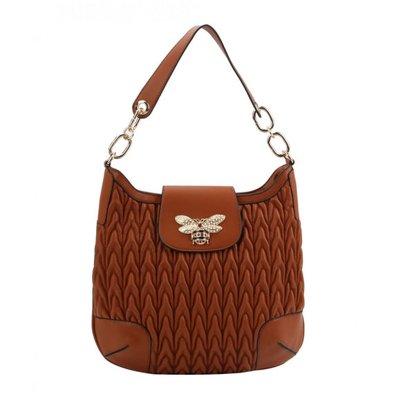 Weaving pattern hobo bag - brown
