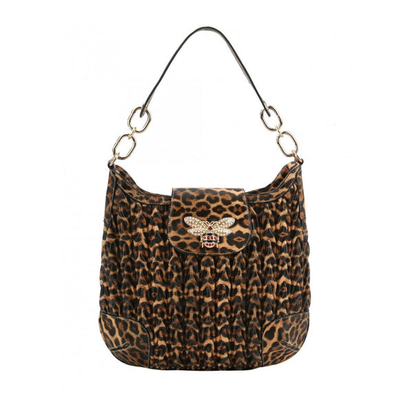 Weaving pattern hobo bag - brown leopard