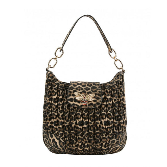Weaving pattern hobo bag - tan leopard