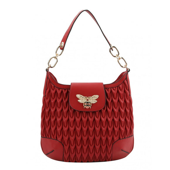 Weaving pattern hobo bag - red