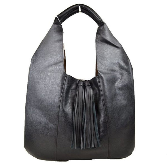 Tassel hobo bag with pouch - black
