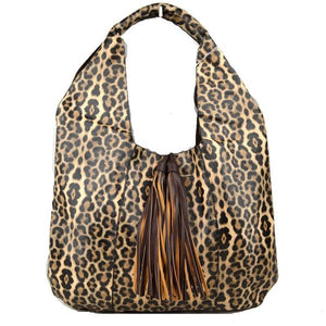 Leopard tassel hobo bag with pouch - tan