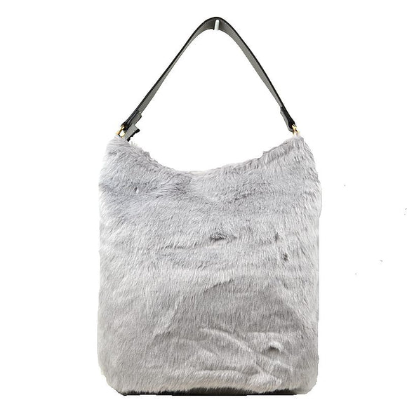 Fur hobo bag - light grey