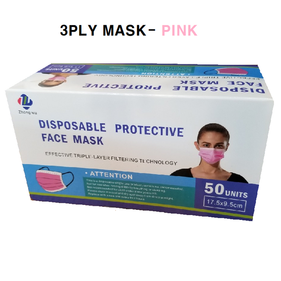 Disposable 3PLY Face Mask - PINK [50 PC]