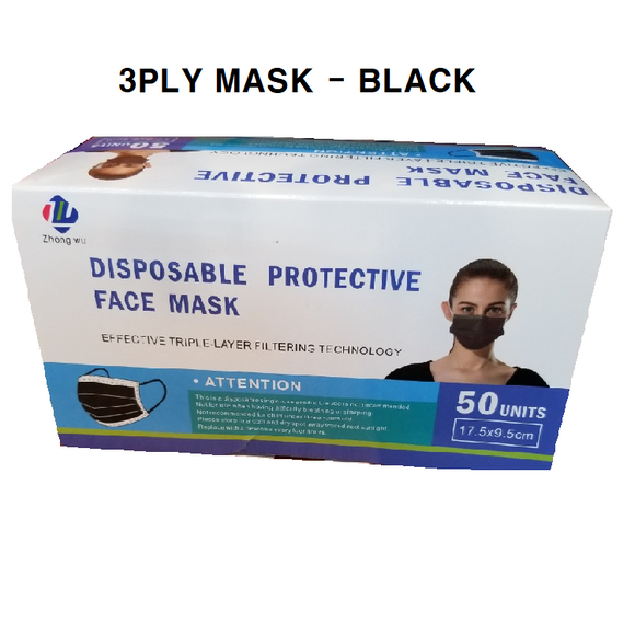 Disposable 3PLY Face Mask - BLK [50 PC]