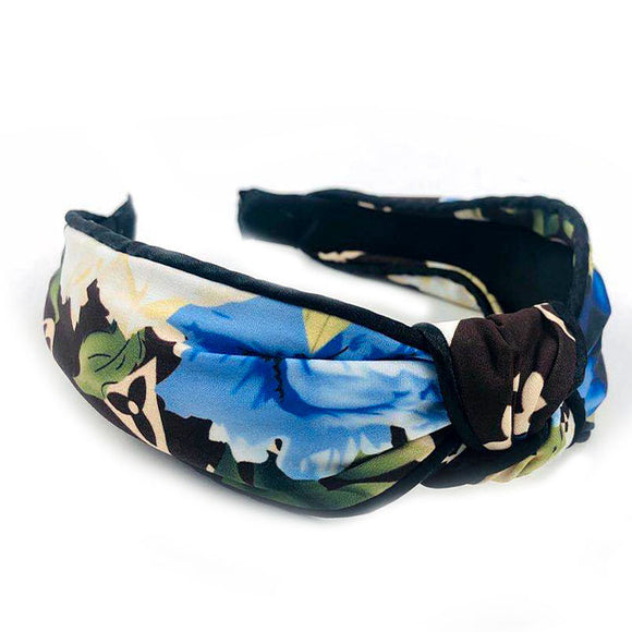 Fashion headband with floral print - blue