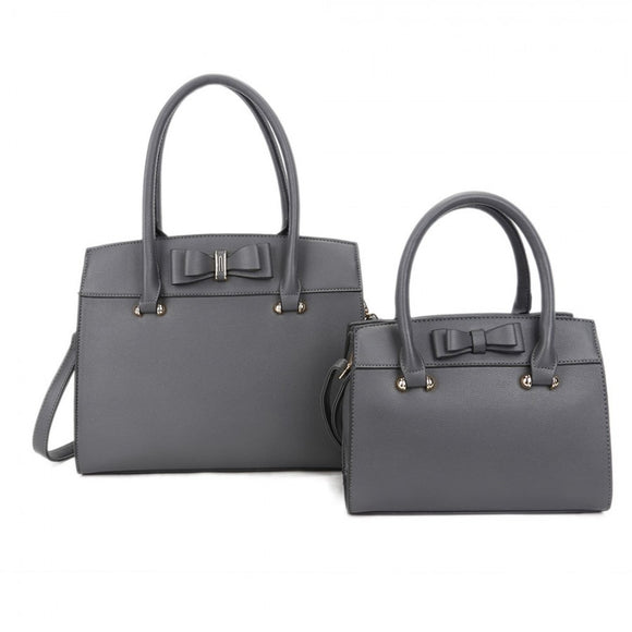 Ribbon decorated 2 in 1 tote - grey