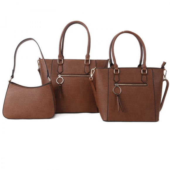 Front zipper 2in1 tote and crossbody bag set - brown