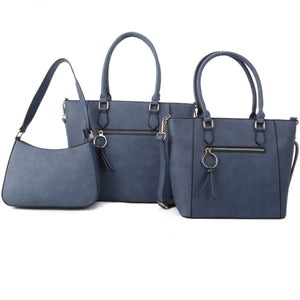 Front zipper 2in1 tote and crossbody bag set - navy
