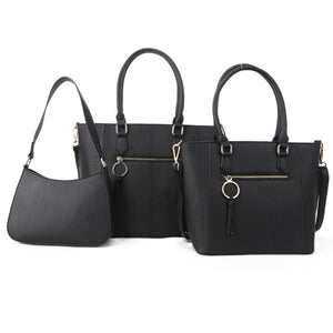 Front zipper 2in1 tote and crossbody bag set - black