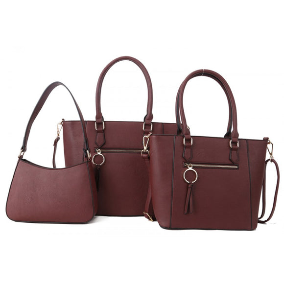 Front zipper 2in1 tote and crossbody bag set - plum
