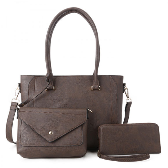 3 in 1 long handle tote set - coffee