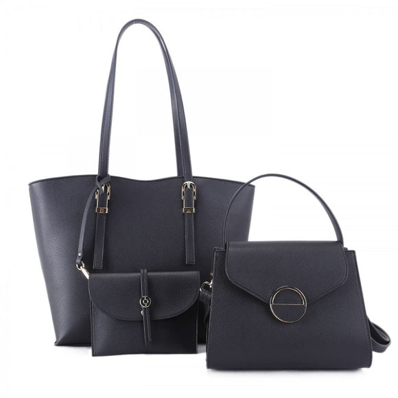 3 in 1 market tote set - black