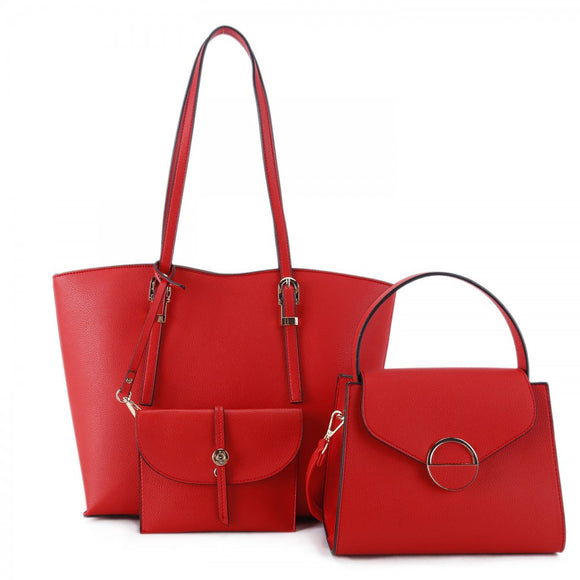 3 in 1 market tote set - red