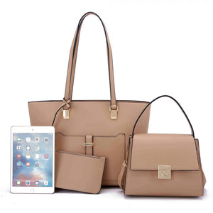 3 in 1 front pocket tote set - tan