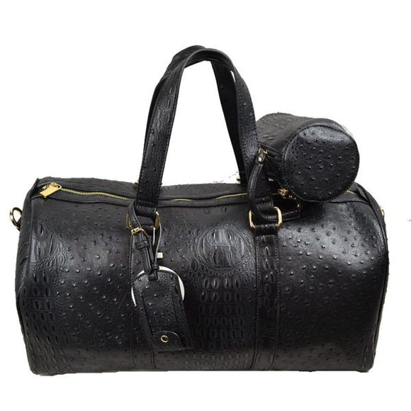 Crocodile embossed weekender - black