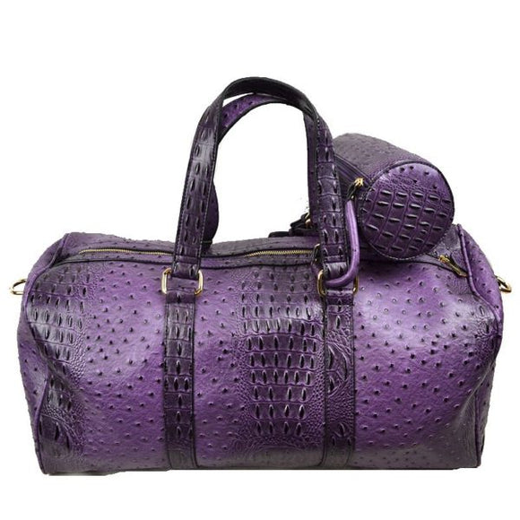 Crocodile embossed weekender - purple
