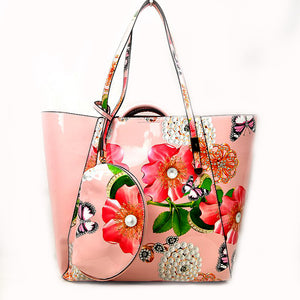 3 in 1 Floral & Pearl print tote set - blush