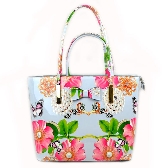 2 in 1 Ribbon & Floral print tote - blue