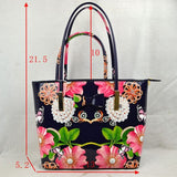 2 in 1 Ribbon & Floral print tote - navy