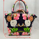 3 in 1 Floral & Pearl tote & Hard handle bag set - white