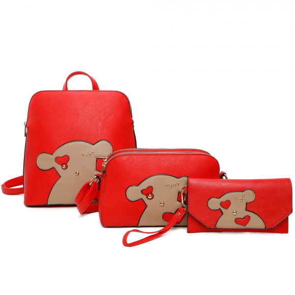 3 in 1 Backpack set - red