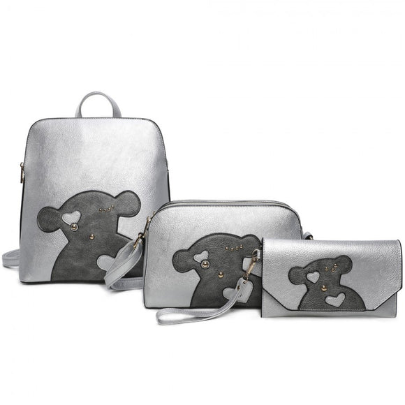 3 in 1 Backpack set - silver