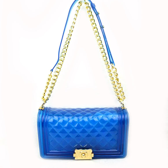 Jelly chain crossbody bag - blue