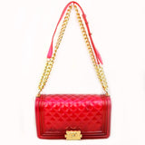 Jelly chain crossbody bag - fuchsia