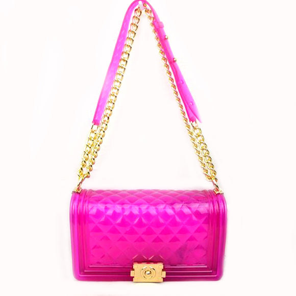 Jelly chain crossbody bag - purple