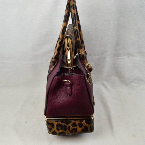 Leopard tote with wallet - mustard