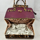 Leopard tote with wallet - brown