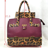 Leopard tote with wallet - olive