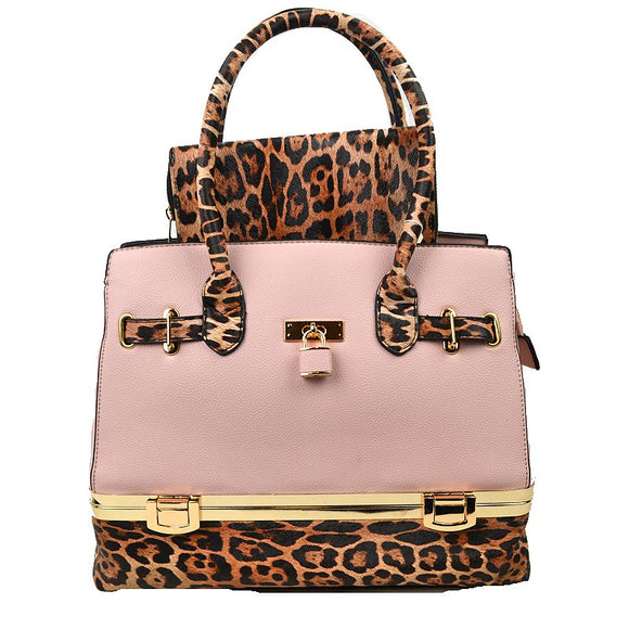 Leopard tote with wallet - blush