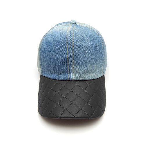 Quilted denim hat - black