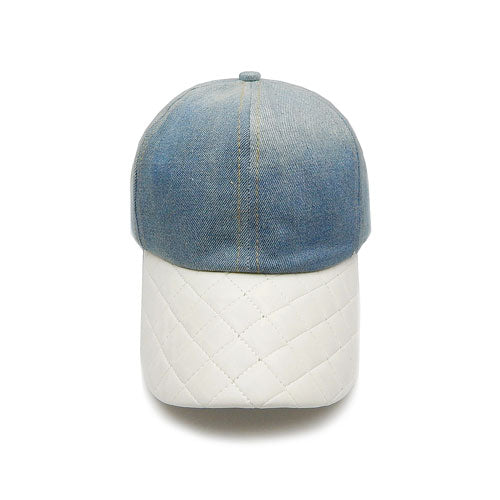 Quilted denim hat - Ivory