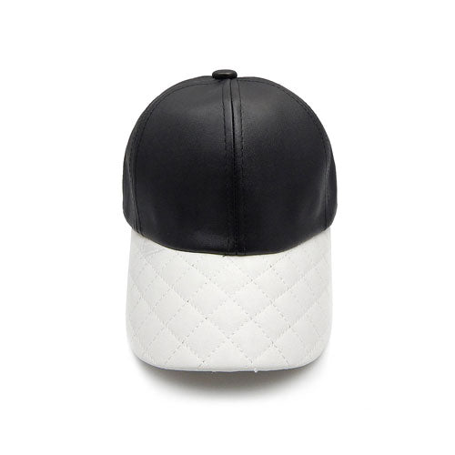Quilted leather hat - black
