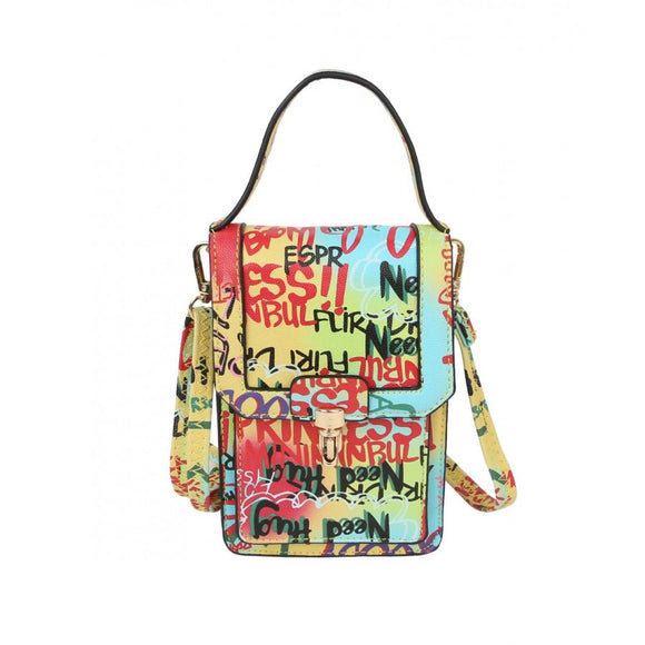 Graffiti cellphone crossbody bag - multi 1