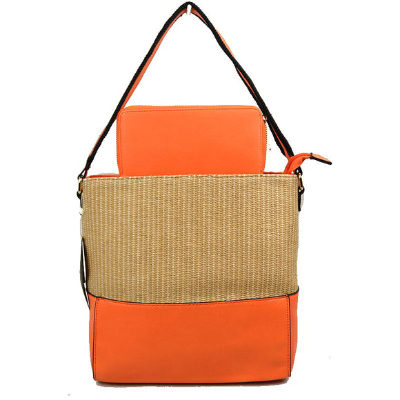 Raffia shoulder bag with wallet - orange