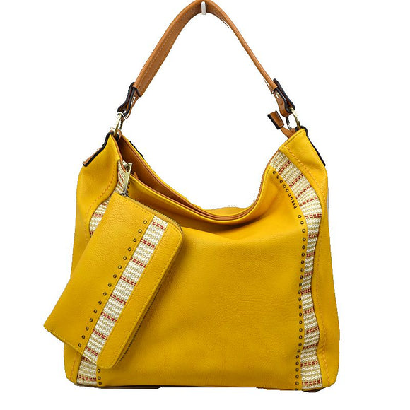 Side stripe shoulder bag with wallet - yellow