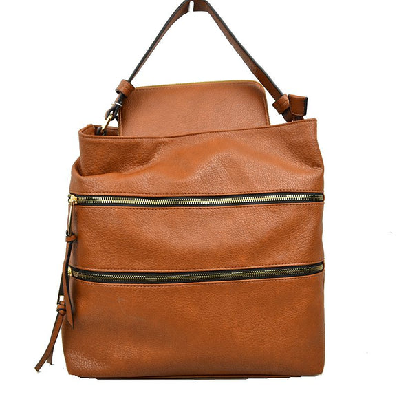 Double zip shoulder bag with wallet - brown